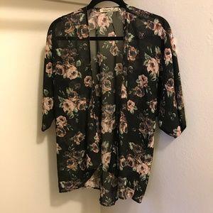 LIBERTY LOVE Floral Open Kimono Blouse Top 👚